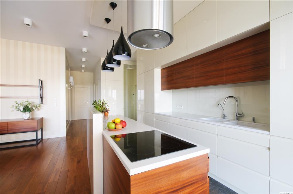 Kuchnia otwarta na salon  Architektura, wnętrza   -> Kuchnia Biala Otwarta Na Salon