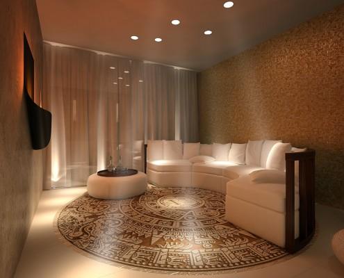 Projekt przestronnej sauny z pokojem wypoczynkowym