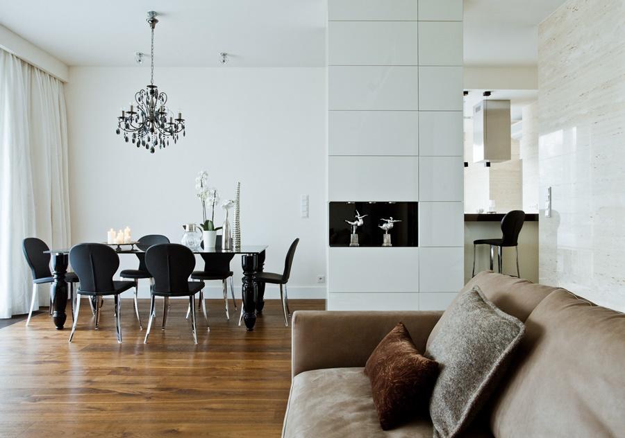 Salon z jadalnią - styl glamour, eklektyczne wnętrza