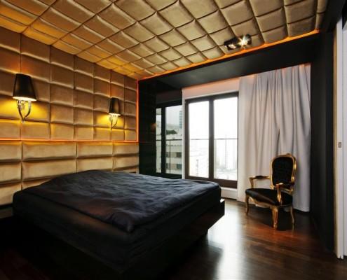 tapicerowane ściany w sypialni