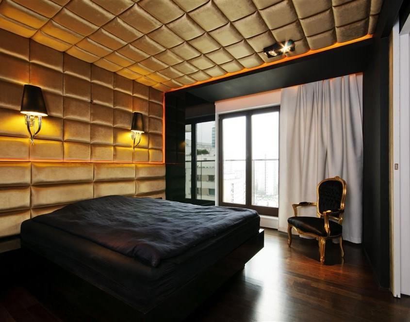 modernistyczna sypialnia w stylu glamour inspiracja