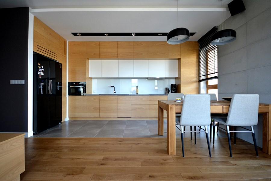 Styl skandynawski w kuchni połączonej z salonem  Architektura, wnętrza, tech