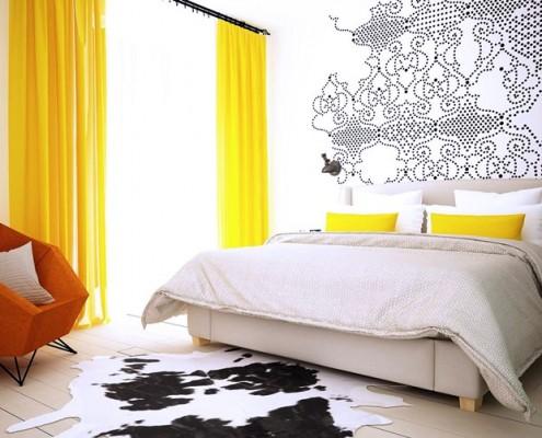 Jaskrawe kolory w sypialni w nowoczesnym stylu