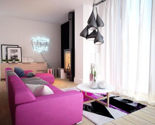 Kobiecy salon – różowa kanapa