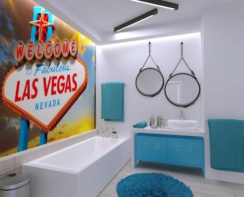Nowoczesna łazienka z turkusowymi dodatkami