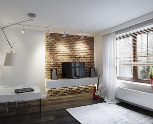 Pokój młodzieżowy w nowoczesnym stylu - ściana z cegły