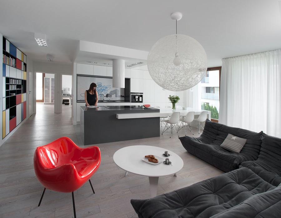 Salon połączony z kuchnią  Architektura, wnętrza, technologia, design  Home   -> Salon Z Kuchnią Aranżacja Inspiracje