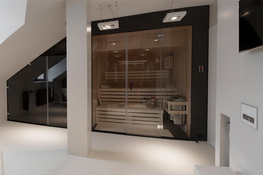 azienka z saun w nowoczesnym stylu minimoo architektura wn trz homesquare. Black Bedroom Furniture Sets. Home Design Ideas