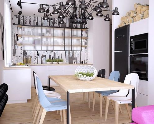 Styl nowoczesny w kuchni połączonej z jadalnią