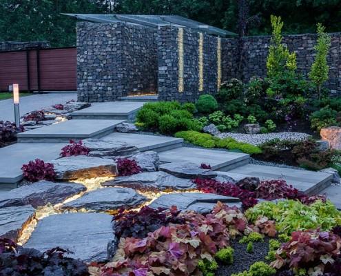 Podświetlany stylowy ogród