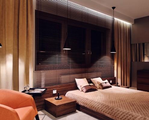 Nowoczesna sypialnia w brązie