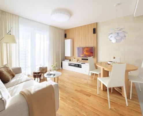 Drewno w salonie - Aranżacja małego salonu
