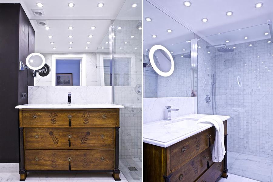 Eklektyczna łazienka pomysł na małą łazienkę