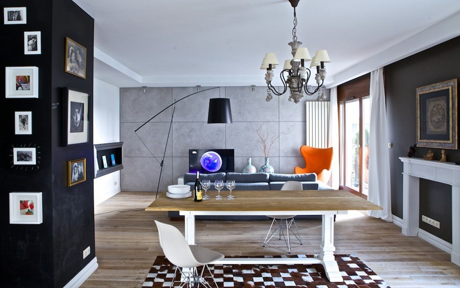 eklektyczne wnętrze z elementami vintage architektura