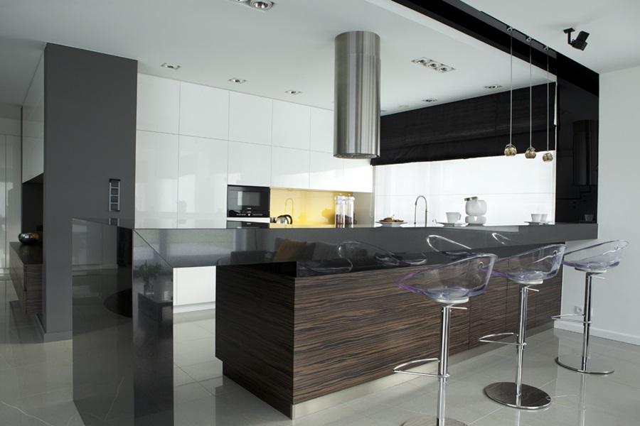 Minimalistyczny salon połączony z kuchnią  Architektura, wnętrza, technologi   -> Kuchnia Otwarta Na Salon Nowoczesna
