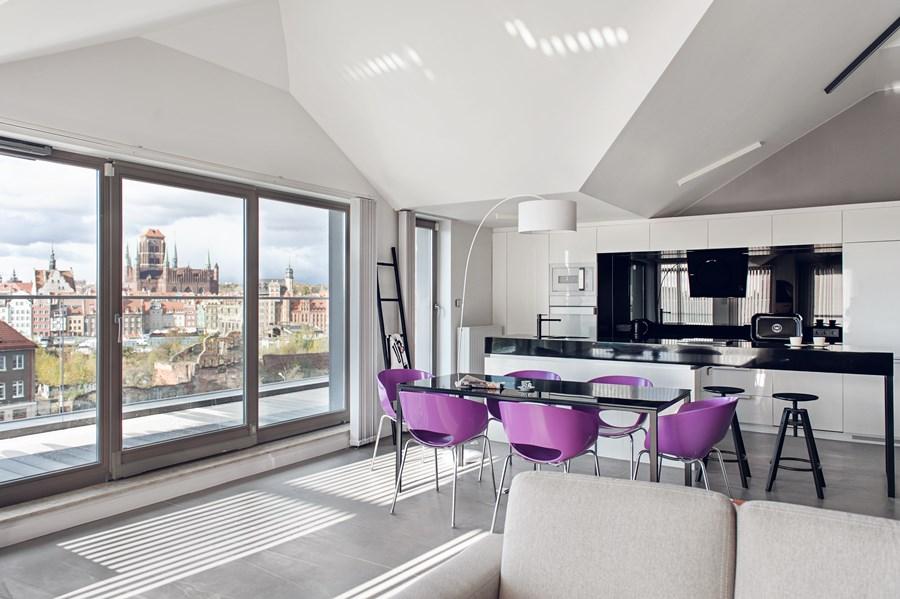 Salon połączony z kuchnią i jadalnią  Architektura, wnętrza, technologia, de