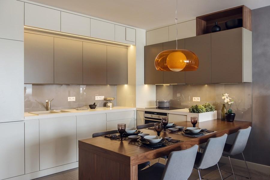 Projekt salonu z kuchnią  Architektura, wnętrza   # Kuchnia Jadalnia Salon Razem