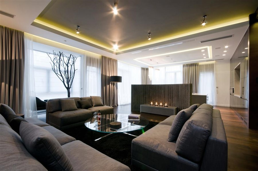 Living Room Designs For Big Spaces Of Nowoczesny Salon Z Betonem Architektonicznym