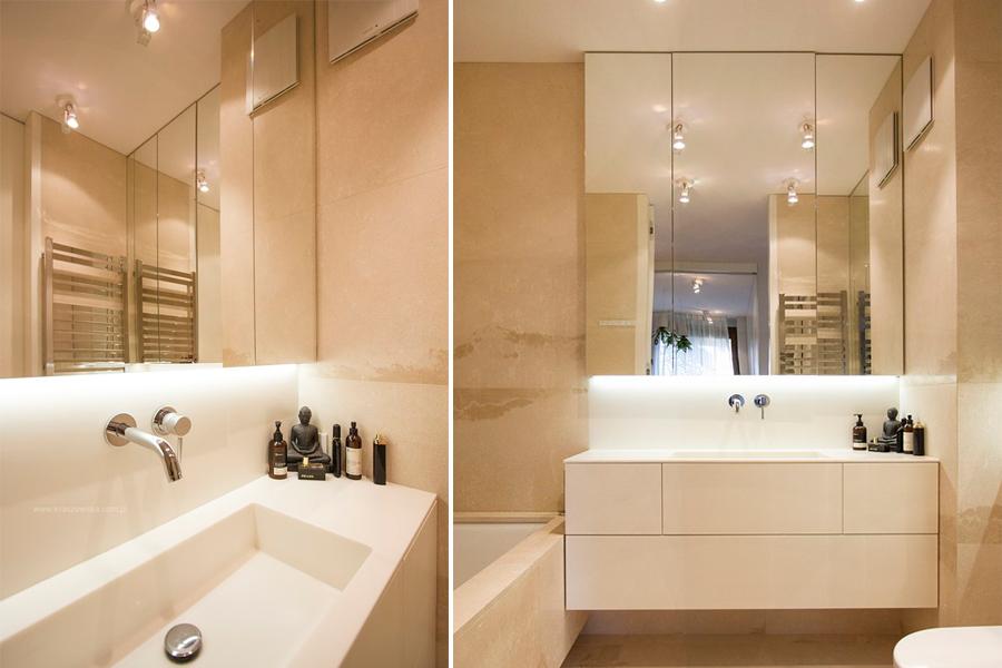 Pomysł na małą łazienkę z wanną beże