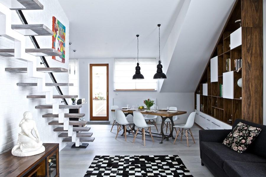 Salon na poddaszu połączony z kuchnią  Architektura, wnętrza, technologia, d   # Salon Kuchnia Na Poddaszu