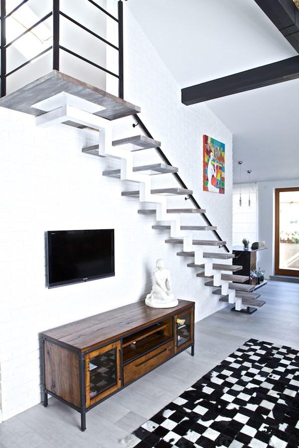 Salon na poddaszu połączony z kuchnią  Architektura, wnętrza, technologia, d   -> Salon Polączony Z Kuchnią Na Poddaszu