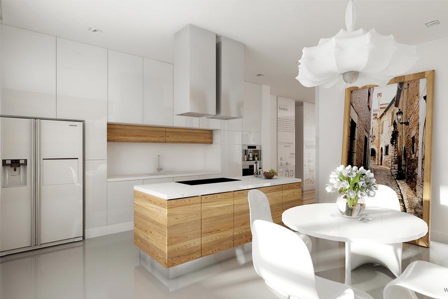 Jasna kuchnia z wyspą  Architektura, wnętrza, technologia   -> Jasna Kuchnia Z Jasnym Blatem