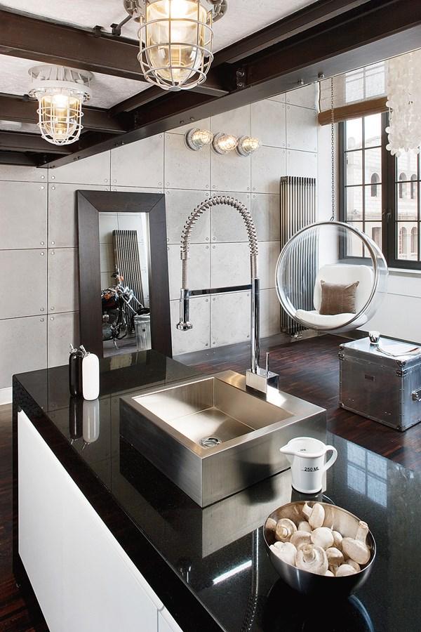 Nowoczesny loft z antresolą  Architektura, wnętrza   -> Kuchnie W Salonie