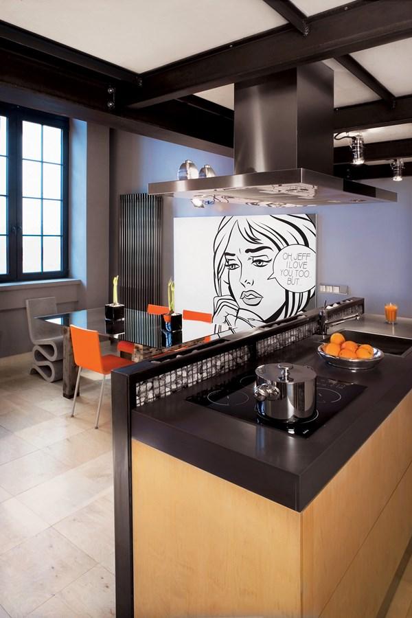Industrialny loft w pomarańczowym wydaniu  Architektura  -> Mala Kuchnia Loft