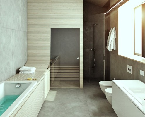 Nowoczesna łazienka z sauną