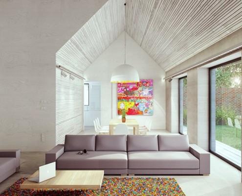 nowoczesny salon z kolorowymi akcentami