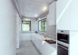 Wąska kuchnia w bieli