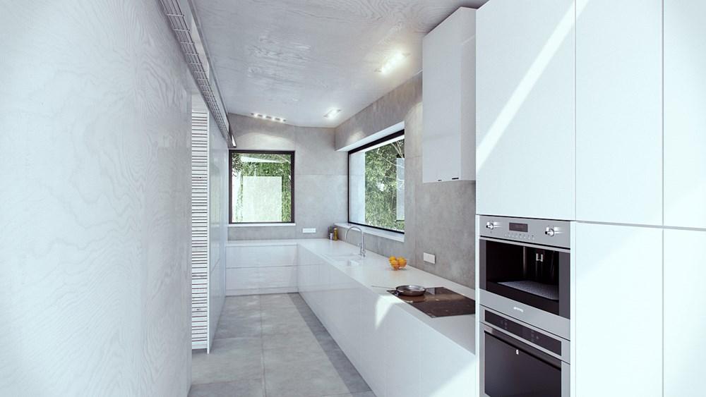 Wąska kuchnia w bieli  Architektura, wnętrza, technologia   -> Kuchnia W Bloku W Bieli