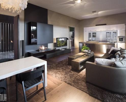 Nowoczesny salon - kuchnia z salonem luksusowe wnętrza Robert Kolenik