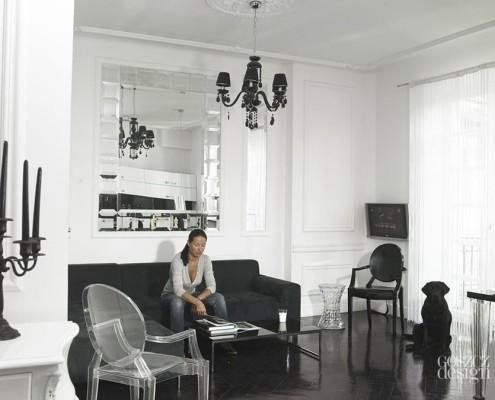 Czarno-biały salon