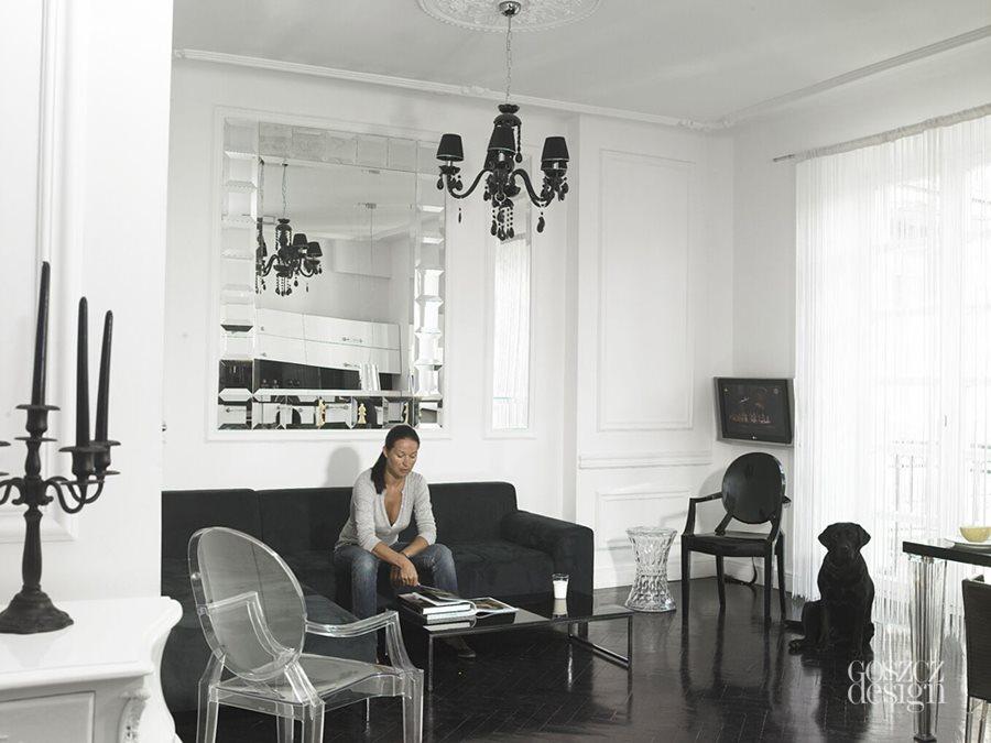 czarnobia�y salon z kuchni� architektura wnętrza