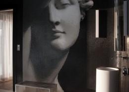 Grafika z mozaiki w łazience