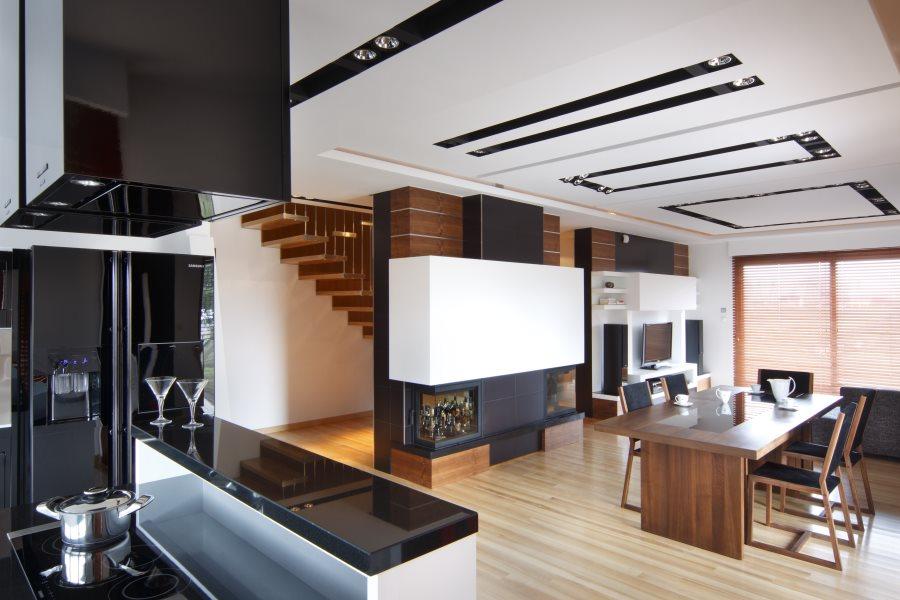 Aranżacja salonu z jadalnią i kuchnią  Architektura