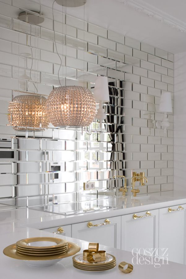 Mirror Brick Tiles Kitchen