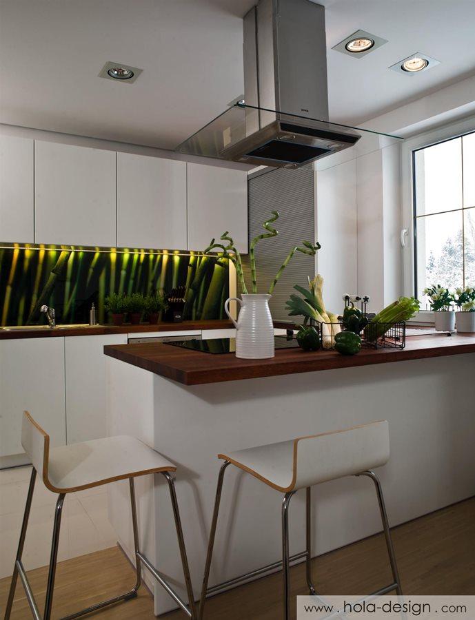 Nowoczesna kuchnia w bieli  Architektura, wnętrza   -> Kuchnia W Bloku W Bieli