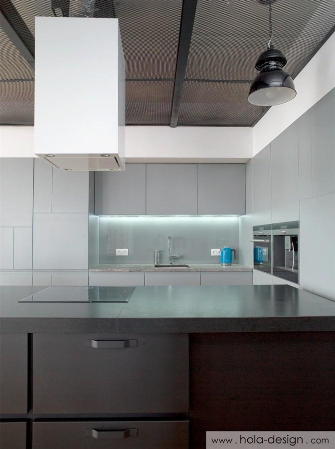 Industrialna kuchnia otwarta na salon  Architektura, wnętrza, technologia, d   -> Nowoczesna Kuchnia Industrialna