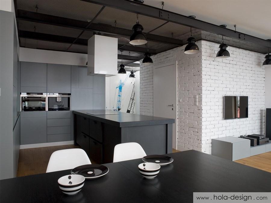 industrialna kuchnia otwarta na salon inspiracja