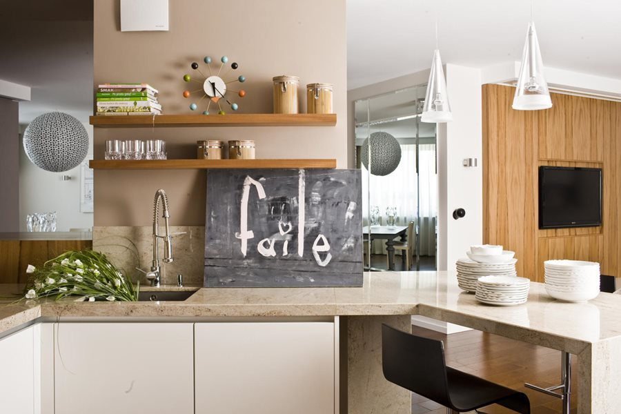 Nowoczesna kuchnia z barkiem  Architektura, wnętrza, technologia, design  H