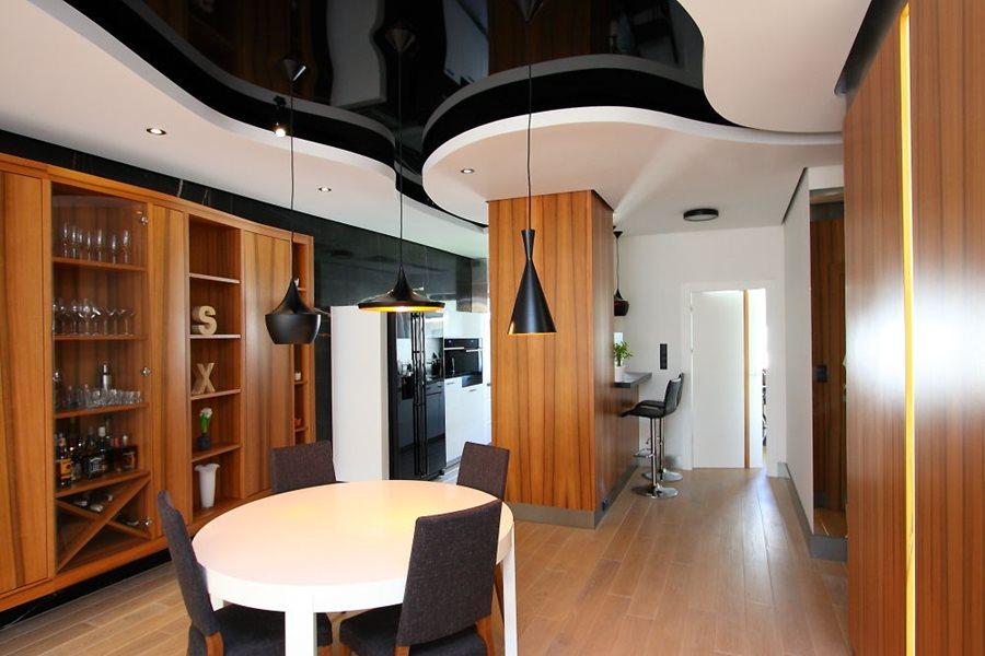 Podłużny salon w ekskluzywnym wydaniu  Architektura, wnętrza, technologia, d   -> Kuchnia Z Salonem Sufit Podwieszany