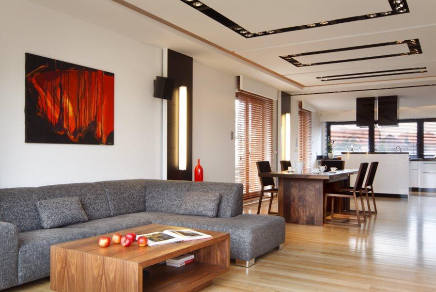 Aranżacja salonu z jadalnią i kuchnią  Architektura, wnętrza, technologia, d   -> Aranżacja Kuchnia Jadalnia Salon