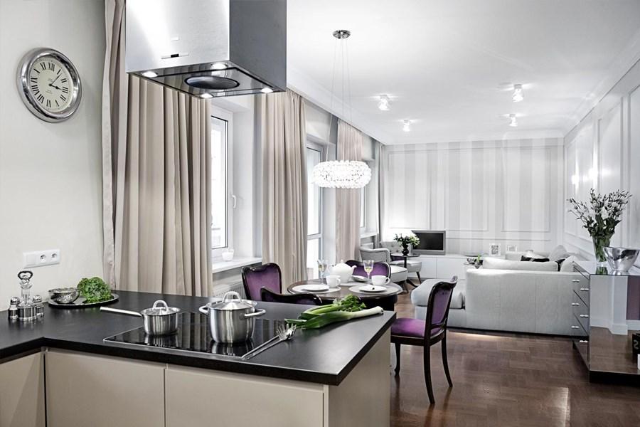 Salon w stylu modern classic z kuchnią  Architektura, wnętrza, technologia, design  HomeSquare