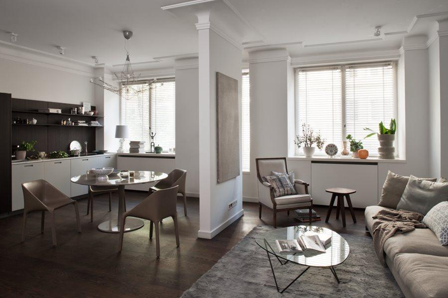 aranżacja kuchni z salonem w kamienicy architektura