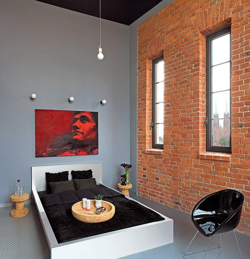 Wysoka Sypialnia Z Ceglaną ścianą Inspiracja Homesquare