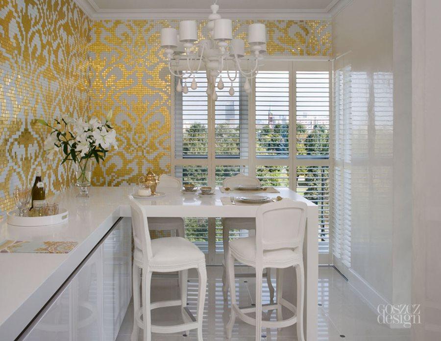 Kuchnia w złocie i bieli - Architektura, wnętrza ...