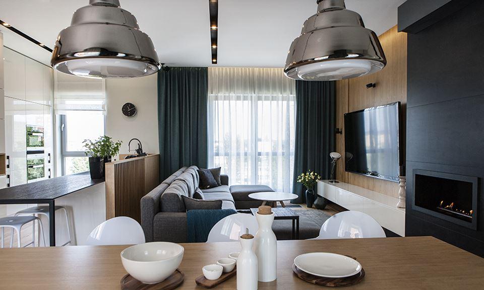 Kuchnia z jadalni i salonem inspiracja homesquare - Cortinas negras decoracion ...
