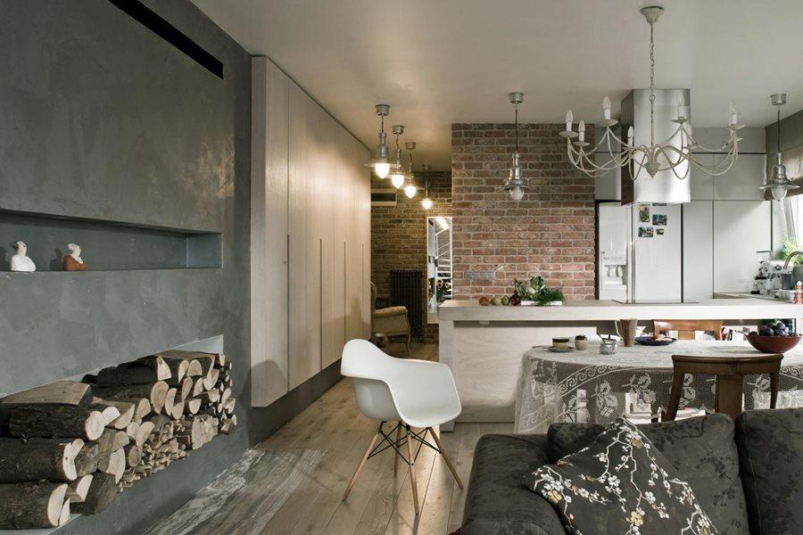 Eklektyczny salon z kuchni inspiracja homesquare for Beton salon